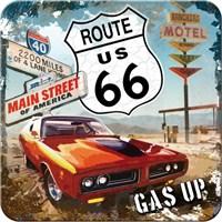 Route 66 Red Car Tekli Bardak Altlığı 9 x 9 cm