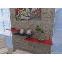 Bmd Mobilya Üçlü Duvar Rafı Kırmızı-Siyah