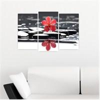 Dekoriza Siyah & Beyaz Taşlarda Çiçek 3 Parçalı Kanvas Tablo 80X50cm