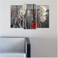 Dekoriza Siyah & Beyaz Çiçekli 3 Parçalı Kanvas Tablo 80X50cm