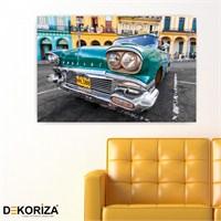 Dekoriza Klasik Yeşil Pontiac Araba Kanvas Tablo 80X50cm