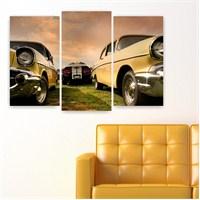 Dekoriza Klasik Sarı Chevrolet Araba 3 Parçalı Kanvas Tablo 80X50cm