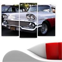 Dekoriza Beyaz Klasik Araba 3 Parçalı Kanvas Tablo 80X50cm
