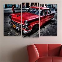 Dekoriza Klasik Kırmızı Ford Araba 3 Parçalı Kanvas Tablo 80X50cm