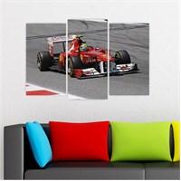 Dekoriza Ferrari F1 Araba 3 Parçalı Kanvas Tablo 80X50cm
