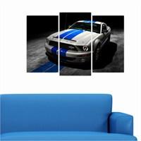 Dekoriza Ford Mustang Araba 3 Parçalı Kanvas Tablo 80X50cm