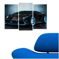 Dekoriza Lamborghini Aventador Araba 3 Parçalı Kanvas Tablo 80X50cm