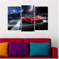 Dekoriza Ferrari Araba 3 Parçalı Kanvas Tablo 80X50cm