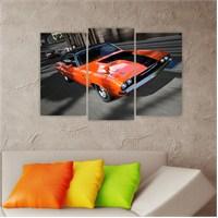 Dekoriza Dodge Spor Araba 3 Parçalı Kanvas Tablo 80X50cm
