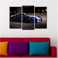 Dekoriza Dodge Viber Spor Araba 3 Parçalı Kanvas Tablo 80X50cm