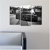 Dekoriza Chevrolet Camaro Spor Araba 3 Parçalı Kanvas Tablo 80X50cm