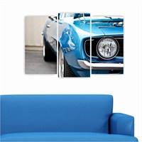 Dekoriza Mavi Spor Araba 3 Parçalı Kanvas Tablo 80X50cm