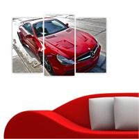 Dekoriza Mercedes Kırmızı Spor Araba 3 Parçalı Kanvas Tablo 80X50cm