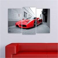 Dekoriza Ferrari Enzo Spor Araba 3 Parçalı Kanvas Tablo 80X50cm