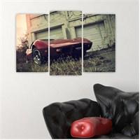 Dekoriza Bordo Klasik Araba 3 Parçalı Kanvas Tablo 80X50cm