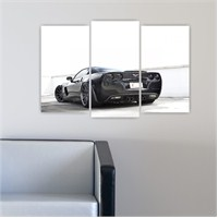 Dekoriza Corvette Siyah Spor Araba 3 Parçalı Kanvas Tablo 80X50cm