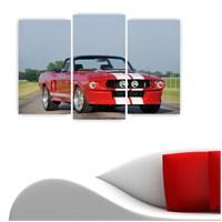 Dekoriza Ford Kırmızı Spor Araba 3 Parçalı Kanvas Tablo 80X50cm