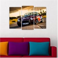 Dekoriza Klasik Bordo Araba 3 Parçalı Kanvas Tablo 80X50cm