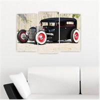 Dekoriza Klasik Siyah Araba 3 Parçalı Kanvas Tablo 80X50cm
