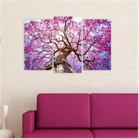 Dekoriza Mor Çiçekli Ağaç 3 Parçalı Kanvas Tablo 80X50cm
