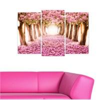 Dekoriza Pembe Çiçekli Yol 3 Parçalı Kanvas Tablo 80X50cm