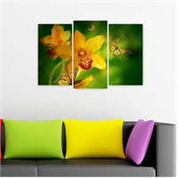 Dekoriza Sarı Çiçekler & Kelebekler Kanvas Tablo 3 Parçalı Kanvas Tablo 80X50cm