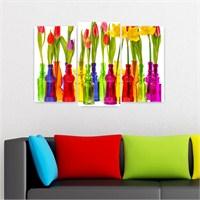 Dekoriza Şişelerde Renkli Çiçekler Kanvas Tablo 3 Parçalı Kanvas Tablo 80X50cm