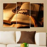 Dekoriza Kuran-I Kerim & Tesbih 3 Parçalı Kanvas Tablo 80X50cm