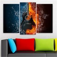 Dekoriza Ateş Su Gitar 3 Parçalı Kanvas Tablo 80X50cm
