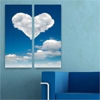 Dekoriza Kalp & Bulut 2 Parçalı Kanvas Tablo 62X70cm