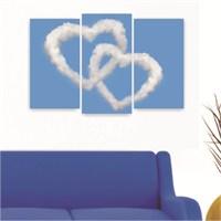Dekoriza Kalp Bulutlar 3 Parçalı Kanvas Tablo 80X50cm
