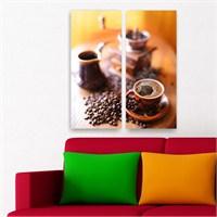 Dekoriza Kahve Değirmeni 2 Parçalı Kanvas Tablo 62X70cm