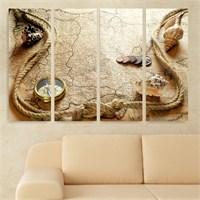 Dekoriza Antika Harita 4 Parçalı Kanvas Tablo 127X80cm