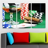 Dekoriza Poker 3 Parçalı Kanvas Tablo 155X90cm