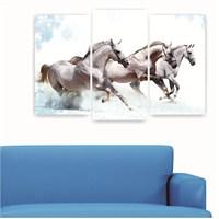 Dekoriza Koşan Atlar 5 Parçalı Kanvas Tablo 110X60cm
