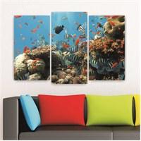 Dekoriza Deniz Hayvanları 3 Parçalı Kanvas Tablo 80X50cm