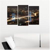 Dekoriza İstanbul Gece Köprü Manzarası 3 Parçalı Kanvas Tablo 80X50cm
