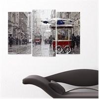 Dekoriza İstanbul İstiklal Caddesi Kar Yağarken 3 Parçalı Kanvas Tablo 80X50cm