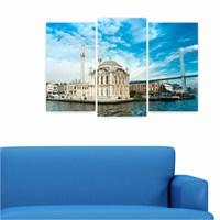 Dekoriza İstanbul Ortaköy Manzarası 3 Parçalı Kanvas Tablo 80X50cm