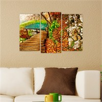 Dekoriza Sonbahar Manzarası 3 Parçalı Kanvas Tablo 80X50cm