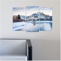 Dekoriza Karlı Göl & Evler 3 Parçalı Kanvas Tablo 80X50cm