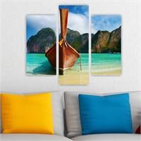 Dekoriza Deniz & Kayık 3 Parçalı Kanvas Tablo 95X80cm