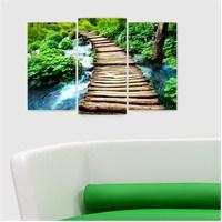 Dekoriza Nehirde Tahta Köprü 3 Parçalı Kanvas Tablo 80X50cm