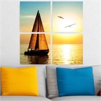 Dekoriza Gün Batımı & Yelkenli 4 Parçalı Kanvas Tablo 92X92cm
