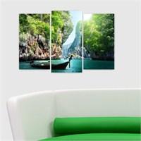 Dekoriza Kayık & Göl Manzarası 3 Parçalı Kanvas Tablo 80X50cm