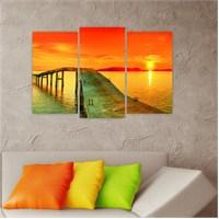 Dekoriza Gün Batımı & Deniz Manzarası 3 Parçalı Kanvas Tablo 80X50cm