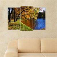 Dekoriza Sonbaharda Göl Manzarası 3 Parçalı Kanvas Tablo 80X50cm