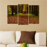 Dekoriza Sonbaharda Ağaçlı Yol 3 Parçalı Kanvas Tablo 80X50cm