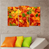 Dekoriza Sonbahar Yaprakları 3 Parçalı Kanvas Tablo 80X50cm