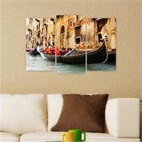 Dekoriza İtalya Venedik 3 Parçalı Kanvas Tablo 80X50cm
